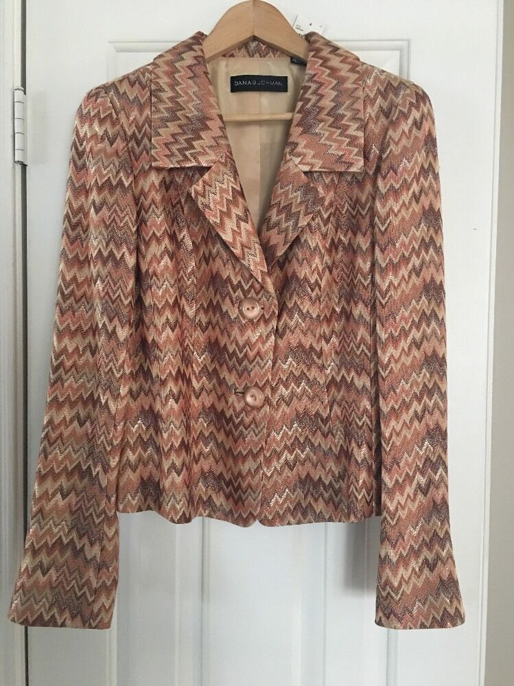 Dana Buchman Neutral Chevron Two Button Blazed