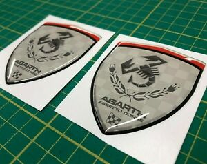 Fiat-500-595-abarth-assetto-course-domed-gloss-wing-badges-70mm-Stickers-Decals