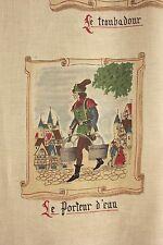Vintage French Marignan 1930's fabric linen children's boy's room medieval