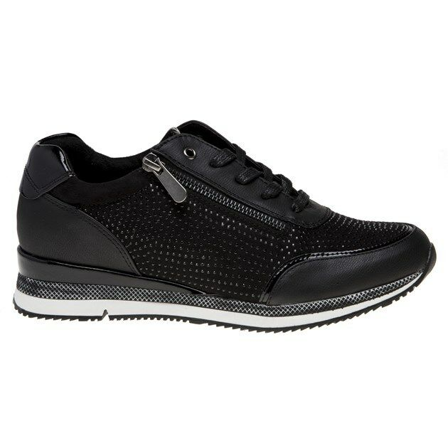New Womens Marco Tozzi Black 23713 Synthetic Trainers Trainers Trainers Flats Lace Up Zip 24afb1