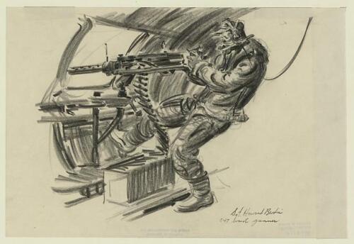 World War,Guadalcanal,Battle of Solomon Islands,Howard Brodie,B-17 Waist Gunner