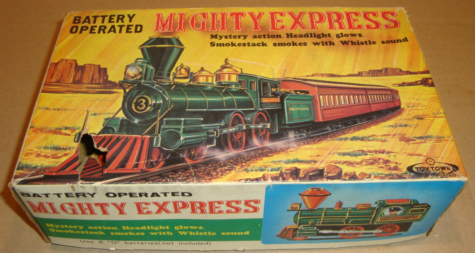 TIN TOY MIGHTY EXPRESS BATTERY OPERATED  TOY TOY TOY TOWN SHINSEI MADE IN JAPAN d77568