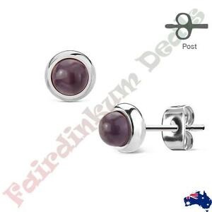Pair-of-Bazeled-Semi-Precious-Amethyst-Stone-316L-Surgical-Steel-Stud-Earrings