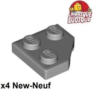 Lego-4x-Aile-Wedge-plate-2x2-cut-corner-coin-angle-gris-light-b-gray-26601-NEUF