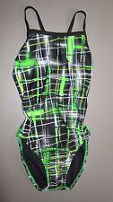 SPEEDO~12/38~7719707~Speedo Green PowerFlex Eco Laser Sticks One Piece Swimsuit