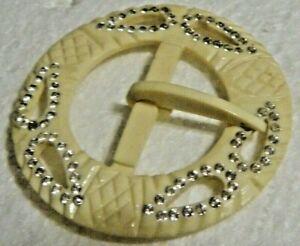30s-Belt-Buckle-carved-beige-lucite-Nouveau-designer-piece-w-rhinestones