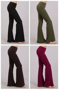 37e28074280 Image is loading S-M-L-Chatoyant-Wrinkle-Free-Stretch-Bell-Bottom-Ponte-
