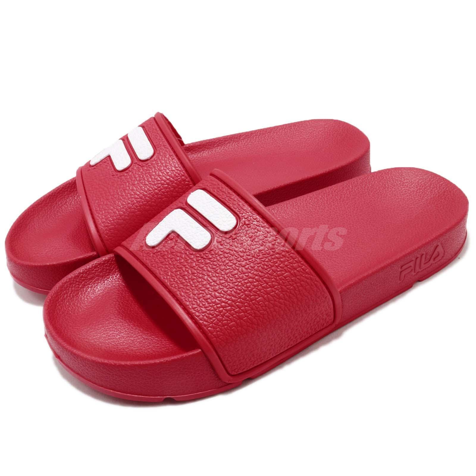 Gentleman/Lady Fila S316S Logo Red White Sandals Rubber Men Women Sports Sandals White Slides Slippers elegant Fast delivery Excellent function WG466 a20814