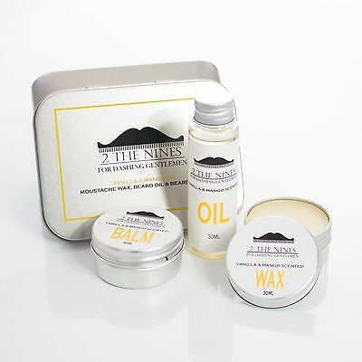 2 The Nines™ Moustache Wax, Beard Oil & Balm - Beard Care Kit (4 Scents)