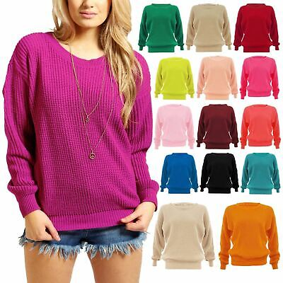 Ladies Womens Chunky Knitted Oversized Jumper Warm Baggy Sweater Pullover Tops | eBay