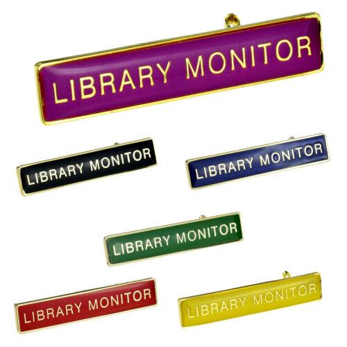Rectangular School LIBRARY MONITOR Pin Badge XSBR012