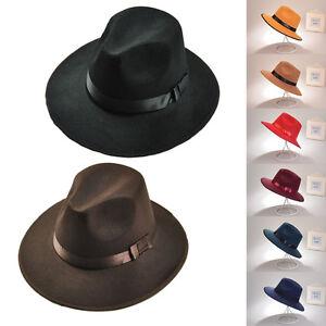 Vintage Cap Men Women Wide Brim Fedora Trilby Panama Hat Hard ... 4b5d952e7ccf