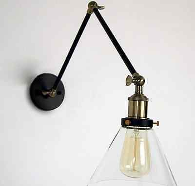 Flexible Arm Industrial Wall Lamp Clear Glass Lighting Home Bedroom Art