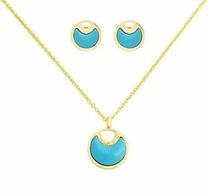 18k-Gold-Plated-Turquoise-Stones-Circle-Pendant-Earings-Necklace-3-Piece-Set