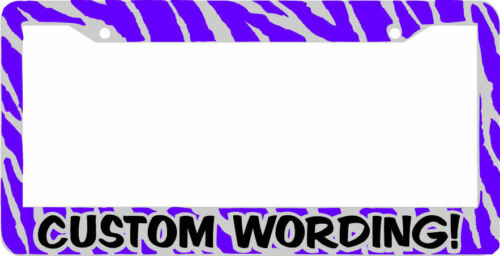 PURPLE ZEBRA PRINT CUSTOM PERSONALIZED WITH YOUR TEXT  License Plate Frame