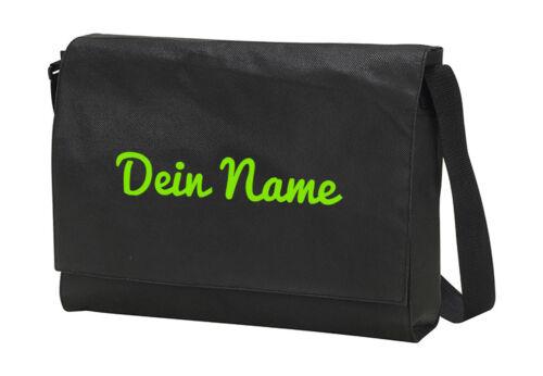 Laptop Bag Borsa Tracolla Borsa, semplice, con testo/NOME A SCELTA ricamato