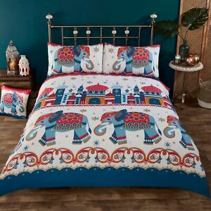 Ethnic Elephant & Jaipur Palaces printed Duvet Quilt Cover Bedding Set