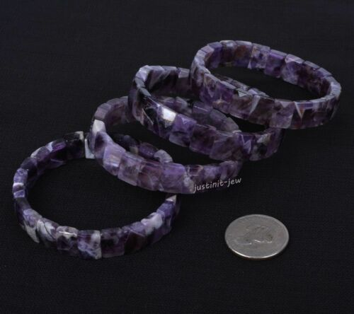 """12 mm FASHION faceted gemstone rectangle Perles Extensible Bracelet 7/"""""""