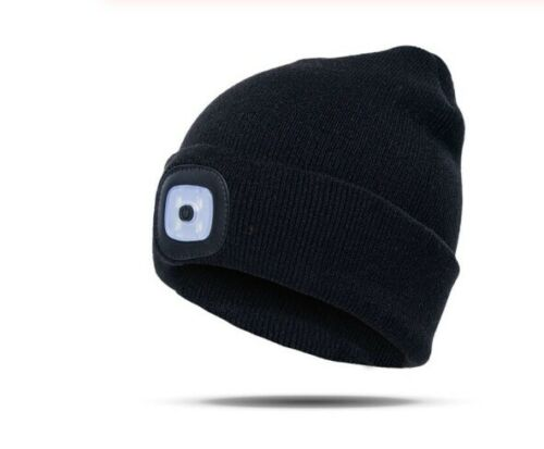 Warm Beni Winter Hat LED Headlamp Knit Beanie Hands Free Head Torch Flashlight