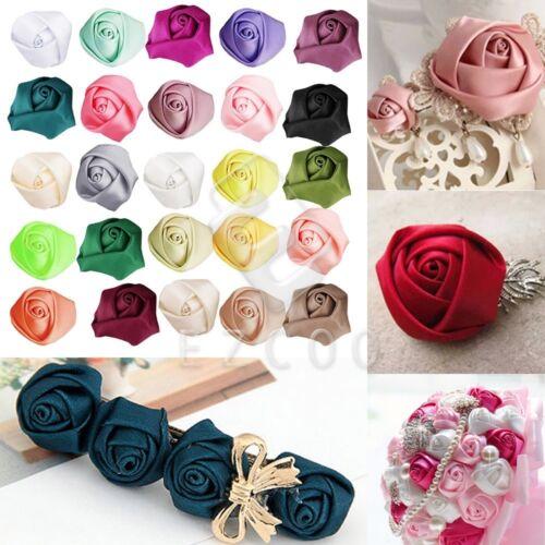 10pcs 21mm Rose Satin Ribbon Flower Bows DIY Wedding Appliques CARN0033