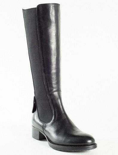 New Femme Black Leather Boots Size 39 US 9