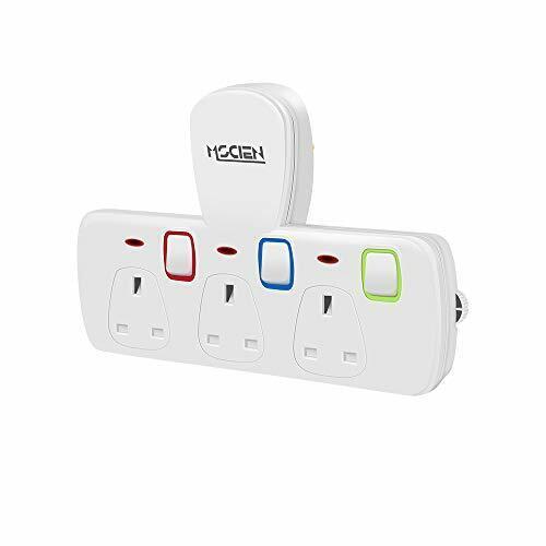 Mscien UK Plug Extension 3 Way 2 USB Multiplug Wall Socket Extension NEW