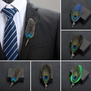 Men Accessories Collar Lapel Pins Peacook Feather Handmade