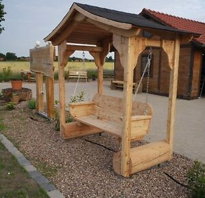 holzbank hollywoodschaukel mit dach schaukelbank ebay. Black Bedroom Furniture Sets. Home Design Ideas