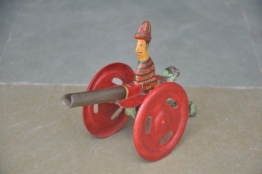 Vintage Mecánico Único Pintado a Mano cañón Litografía Estaño Juguete, Coleccionable