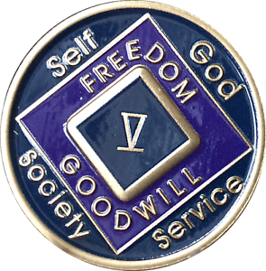 NA Black Gold Coin 9 Year Tri-Plate Narcotics Anonymous Medallion Out of Ashes