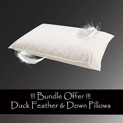 1//2//4 X 100/% Cotton Luxury Duck Feather Pillow Soft Comfortable Extra Filled