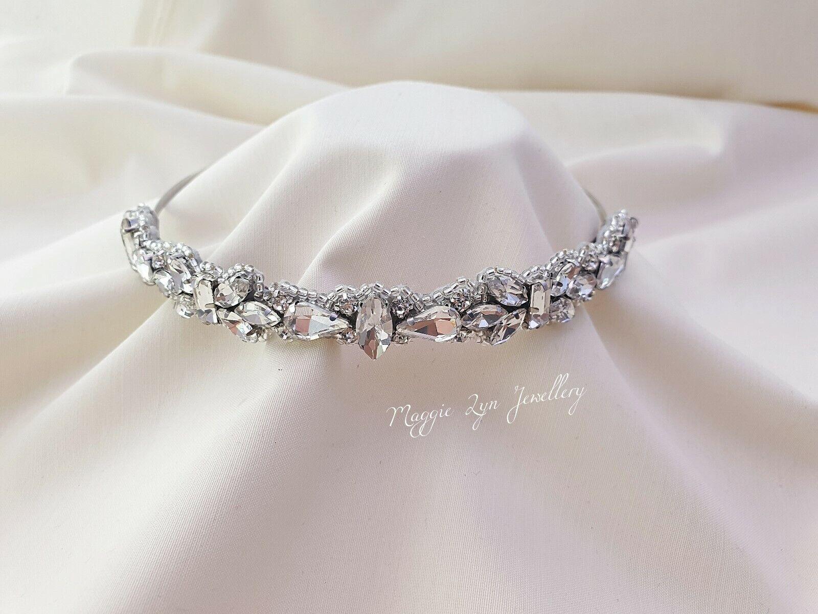 Bridal crystal headband tiara, sparkly wedding hairband. headpiece hairpiece uk