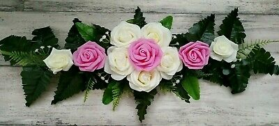 Grabgesteck Rosen rosa creme Trauer künstlich Grabschmuck Totensonntag 60 cm