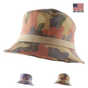 e15a1af6252 Image is loading Cotton-Linen-Camouflage-Hiking-Fishing-Beach-Sun-Bucket-