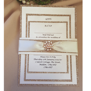 Rose Gold Wedding Invitations | 32 X Lizzy Champagne Rose Gold Glitter And Pink Diamante Wedding