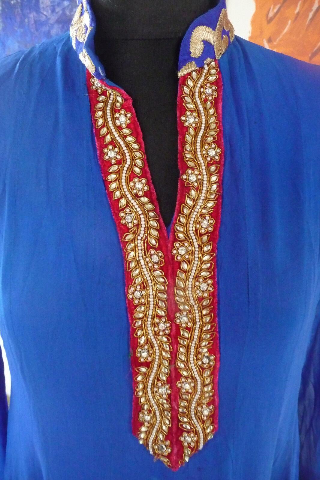 Bollywood-Theater-Karneval  Anarkali-Kleid, tintenblau, Goldfarbene Stickerei