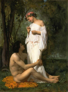 Olgemaelde-bourguereau-Idylle-romantisch-Young-Lovers-in-Landschaft-Leinwand-36-034