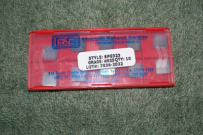 WESSON    CARBIDE INSERTS   SPG 323 J      PACK OF 10 AGI   VR