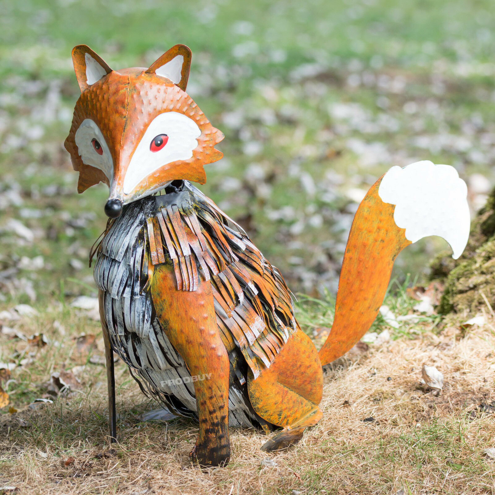 40cm Large Fox Metal Metal Metal Garden Ornament Outdoor Animal Lawn Sculpture Statue Gift d3556a