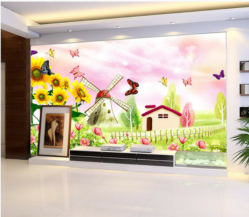 3D Butterfly Garden Hut 634 Wall Paper Wall Print Decal Wall Deco Indoor Mural
