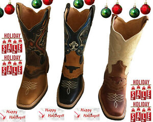 Men cowboy boots Genuine Cowhide Leather square toe rodeo western ...
