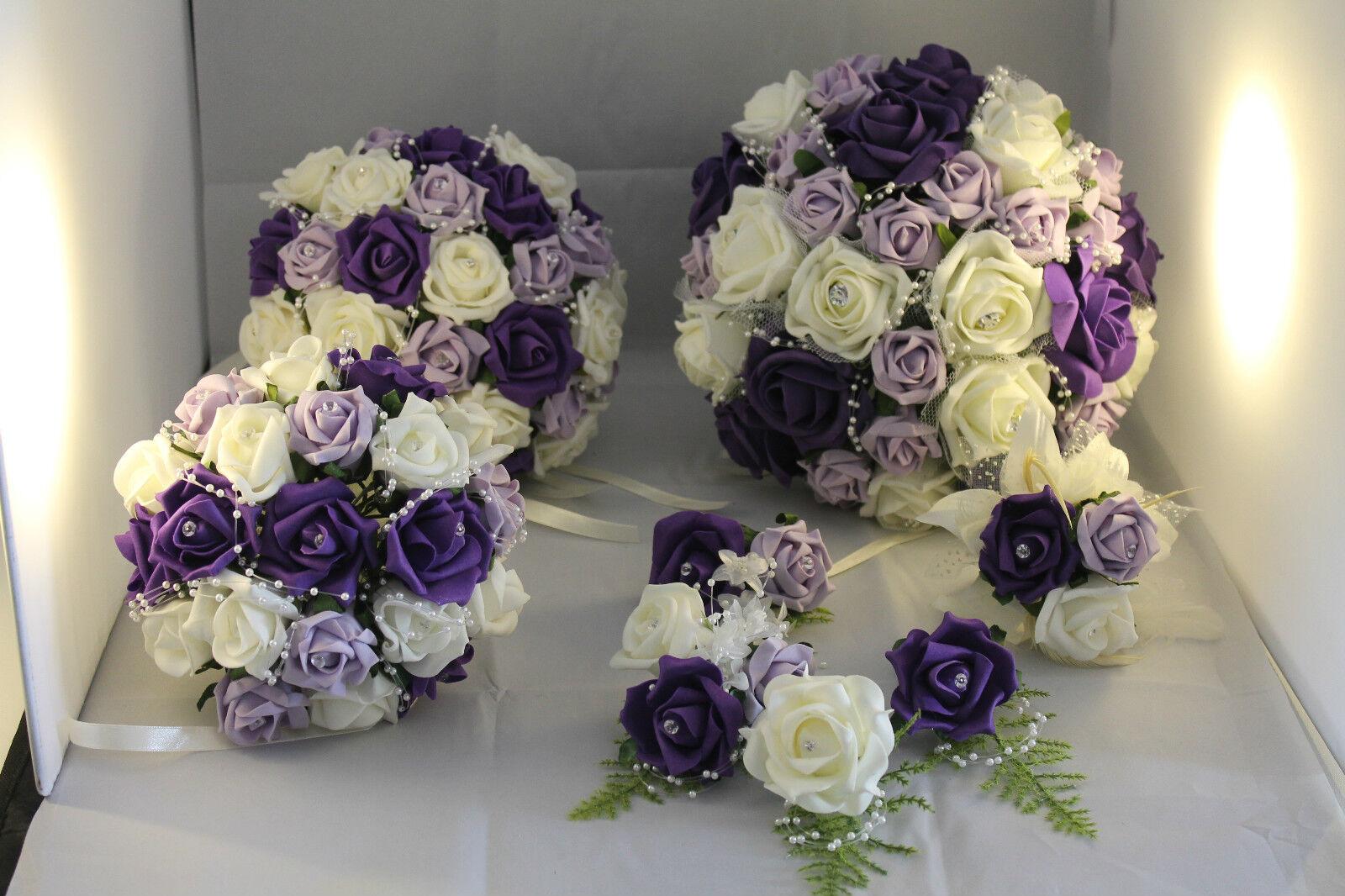 Bridal bouquet violet ivoire violets emballage idéal medium mariage