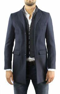 Cappotto Uomo Lana Invernale Elegante Blu Cappottino Con Gilet Giubbotto Lungo S