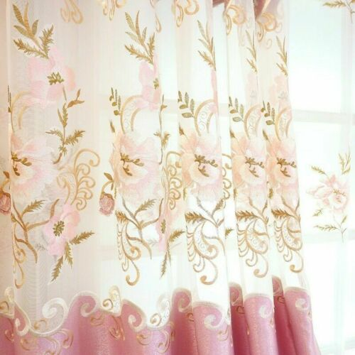 Exotic Embroidery Fabric Curtain Pelmet Lace Voile Tulle Window Panel Drape Home