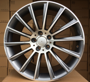 4x-21-Zoll-Felgen-fuer-Mercedes-Benz-ML-GL-GLS-GLA-ET46-10J-5x112-Alufelgen-Grau