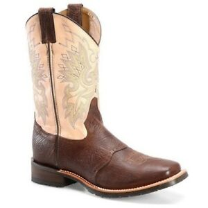 Double-H-Men-039-s-Wide-Square-Brown-amp-Cream-Work-Western-Boots-DH3613