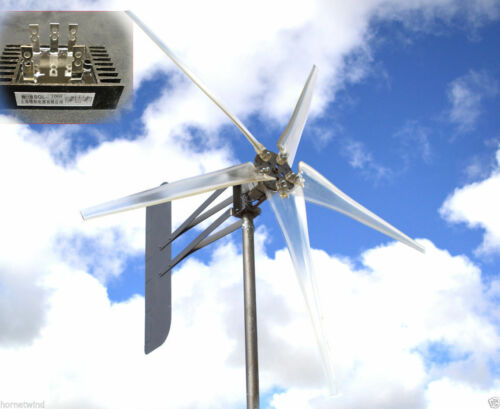 """KT Ghost 74/"""" alumt 5 Blade Wind Turbine 48 VAC 3-Wire 14 MAG 6.3 KWh avec Rect."""