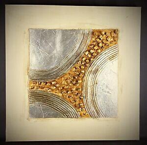 Tableau-abstrait-contemporain-Peinture-sur-huile-tres-rehaussee-avec-pierres