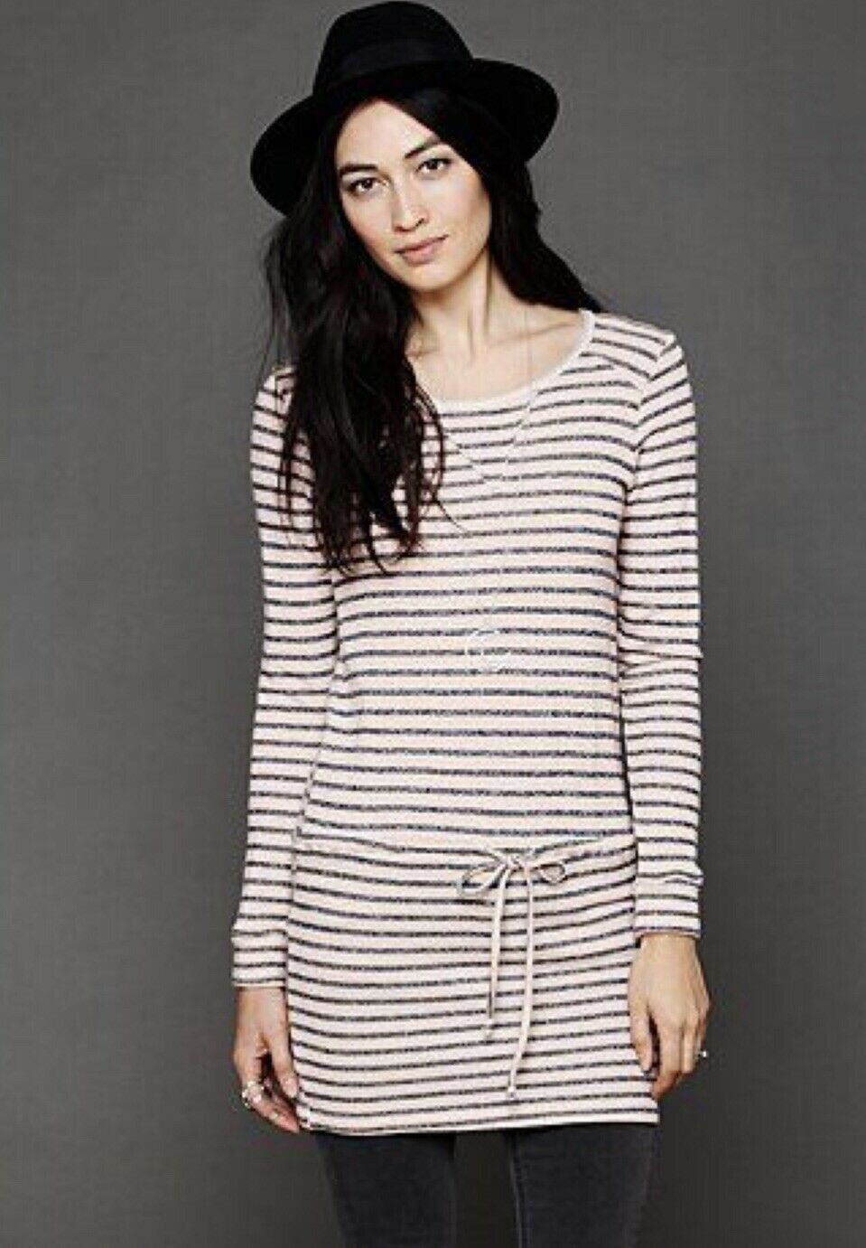 NEW NIGHTCAP X FREE PEOPLE Sz 1 DUTCH STRIPE TERRY DRAWSTRING SWEATSHIRT DRESS