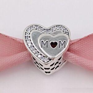 NEW-PANDORA-SILVER-TRIBUTE-TO-MUM-LOVE-MOM-HEART-CHARM-792070CZ-S925-ALE